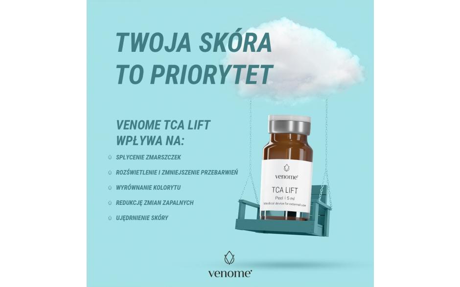 Venome TCA Lift to medyczny peeling chemiczny do silnej rewitalizacji skóry o różnorodnym zakresie działania i jednocześnie wysokim stopniu bezpieczeństwa.