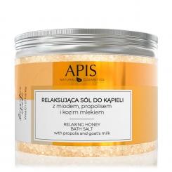 APIS Relaksująca sól do kąpieli z miodem, propolisem i kozim mlekiem 650g