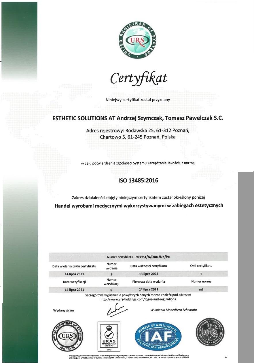 certyfikat JAKOSCI ISO 13485